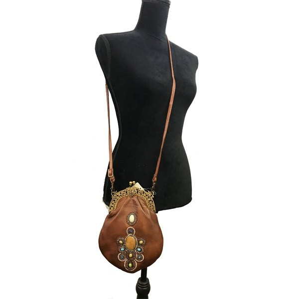 551 GENUINE LEATHER BRASS FRAME VINTAGE STONE WORK BAG-contact for ...
