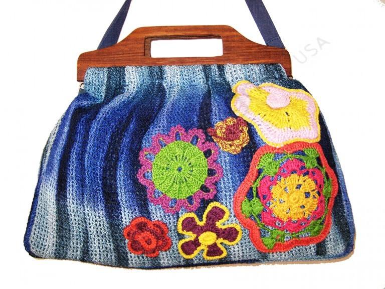 7909ntd Mesh Tie Dye Wood Handle Crochet Flowers Cross Body Bag