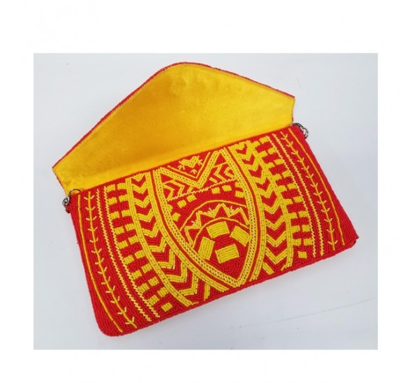 19516 HAND CRAFTED ALL BEADED ROYAL PATTERN RED/YELLOW CLUTCH