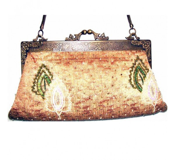 AC081 GREEN LEAF TAPESTRY BRASS FRAME VINTAGE BAG-contact for prices