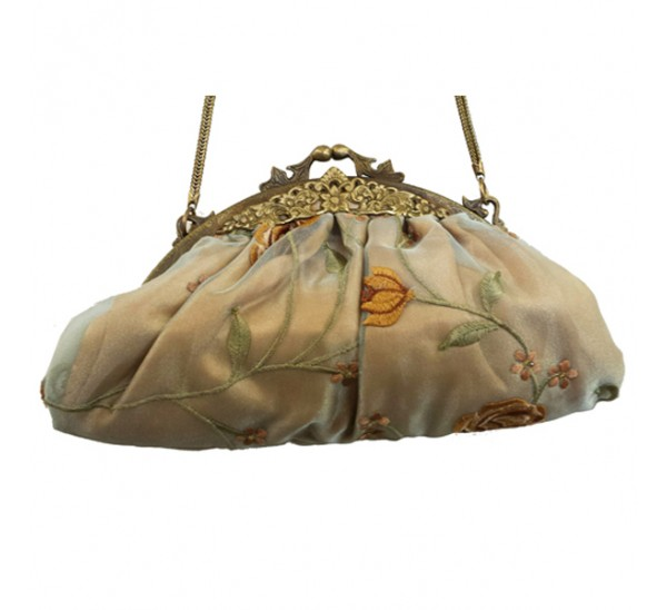 AC387 CHAMPAGNE FLORAL BRASS FRAME VINTAGE BAG-contact for prices