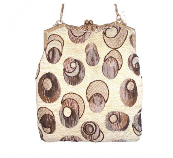 AC625 LARGE VINTAGE BEIGE TAPESTRY BAG