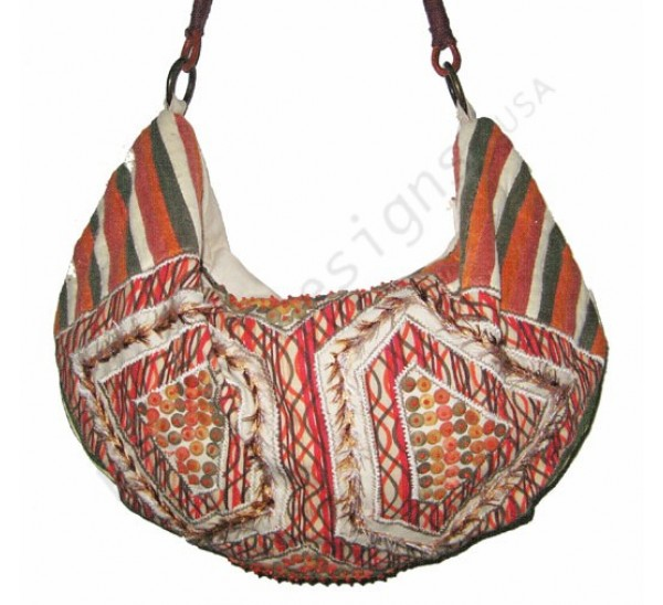 6265 ZIP TOP APPLIQUE WOOD BEADS EMBROIDERED HOBO/LEATHER CORD STRAP
