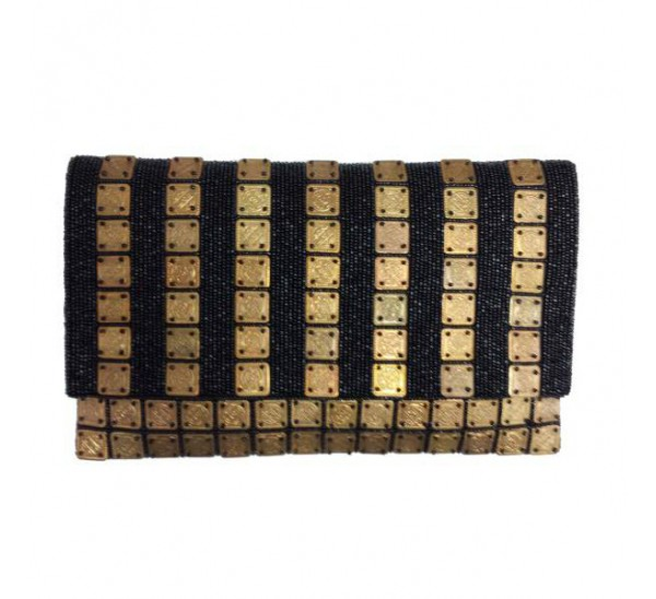 PUB 977 HAND CRAFTED BRASS COIN/ BEADED CROSS BODY CLUTCH