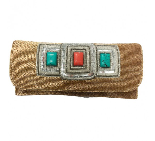 PUB394 HAND EMBROIDERED 3 STONE BEADED CROSS BODY CLUTCH