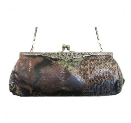 003 EXOTIC SKIN PRINT BRASS FRAME VINTAGE BAG-contact for prices