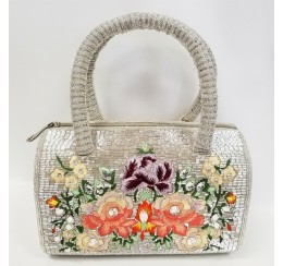 RD10223 HAND CRAFTED SILVER FLORAL SILK  EMBROIDERED ZIP TOP SATCHEL