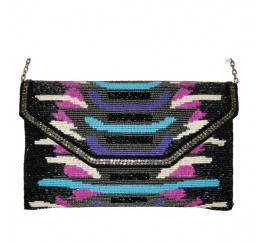 RD10229 FINE BEADED BLACK/PINK/TURQ FLAPOVER CLUTCH