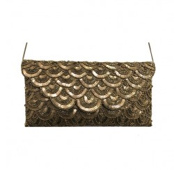 1154 HAND CRAFTED SCALLOP FLAP CROSS BODY CLUTCH