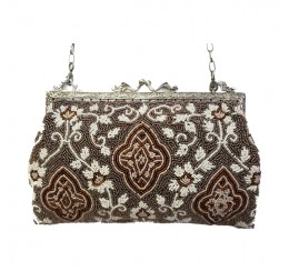 VICTORIAN VINTAGE 1900 BEADED FRAME CLUTCH