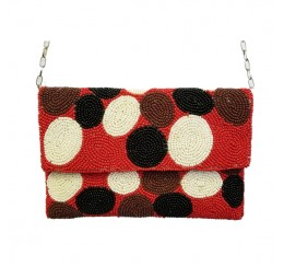 ALL BEADED RED CIRCLE CLUTCH