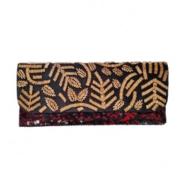 BLACK RED SEQUIN BEADED FLAP OVER CLUTCH