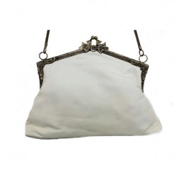 31032 WHITE GENUINE LEATHER VINTAGE HUT FRAME BAG-contact for prices