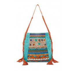 RK1017 LEATHER SUEDE BOHEMIAN EMBROIDERED ZIP TOP TOTE