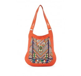 RK1317 COTTON CANVAS BOHEMIAN HAND  EMBROIDERED HOBO WITH LEATHER STRAP