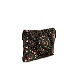 ABI05 MIRROR /PEARL EMBROIDERED FLAP OVER CLUTCH