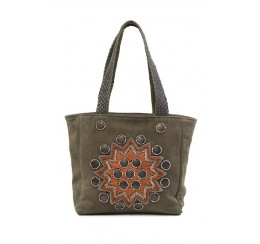 RK03 LEATHER EMBROIDERED METAL WORK TOTE
