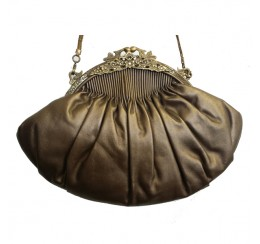 ACP 073 GOLD LEATHER PLEATED BRASS FRAME VINTAGE BAG
