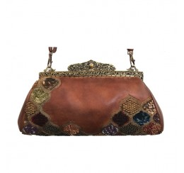 VINTAGE FRENCH COLLECTION LEATHER EMBROIDERY CLUTCH