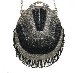 552 HAND CRAFTED ALL BEADED FRINGE VINTAGE BAG