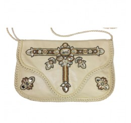 ARF100 GENUINE LEATHER CRYSTAL WORK CROSS BODY CLUTCH-contact for prices