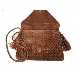 ABI501 LEATHER WOVEN CLUTCH