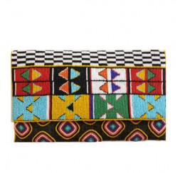ACP397 HAND CRAFTED BEADED CROSS BODY CLUTCH