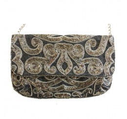 ACP390 HAND CRAFTED BEADED CLUTCH/CROSS BODY BAG