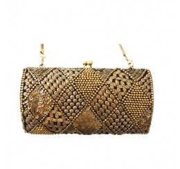 ACP449 ALL BRASS BEADED BOX CLUTCH