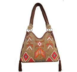 KT1 GENUINE LEATHER EMBROIDERED HOBO