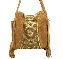 RD513F LEATHER TOTE WITH BRASS AND STONE EMBROIDERY