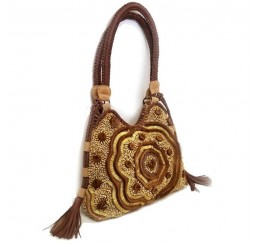 RD514 LEATHER HOBO HAI RON AND BRASS/ STONE EMBROIDERED