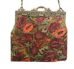 276 HAND EMBROIDERED BRASS FRAME VINTAGE BAG