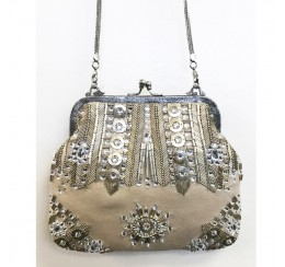 VICTORIAN VINTAGE IVORY BRASS AND CRYSTAL EMBROIDERY BAG