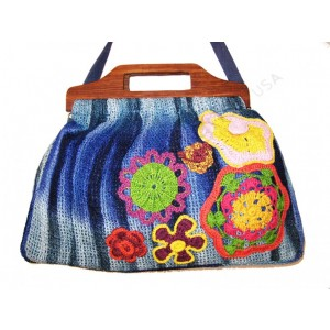 7909NTD MESH TIE DYE WOOD HANDLE CROCHET FLOWERS CROSS BODY BAG