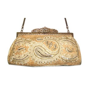 AC079 IVORY PAISLEY TAPESTRY BRASS FRAME VINTAGE BAG