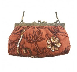 060 HAND EMBROIDERED FLORAL SEQUIN VINTAGE CLUTCH