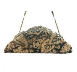 077 VINTAGE TAPESTRY BROWN BOAT CLUTCH