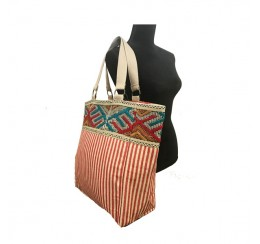 9571 Woven  red stripe cotton zip top tote with embroidered