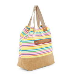 Canvas rainbow stripe zip top tote jute burlap bottom