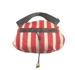 red stripe euro style cut handle bag
