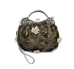 VICTORIAN VINTAGE TOP HANDLE PUCKERED CLUTCH