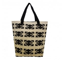 RDM133 COTTON WOVEN B/W BEACH TOTE