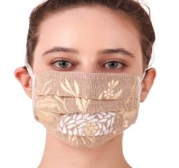 COTTON EMBROIDERED PLEATED MASK
