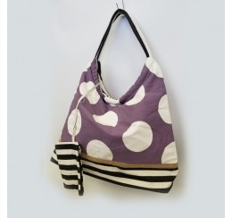 CB1206 COTTON CANVAS HOBO POLKA DOTS/ ZIG ZAG