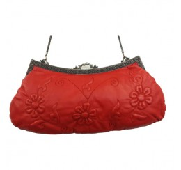 31036 RED GENUINE LEATHER LARGE EMBOSSED EMBROIDEREDCLUTCH