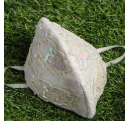 WHITE LACE EMBROIDERED MASK