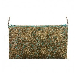 4568 HAND CRAFTED GOLD TURQUOISE CROSS BODY CLUTCH