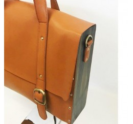 WOOD LEATHER LARGE SATCHEL/ OFFICE BAG