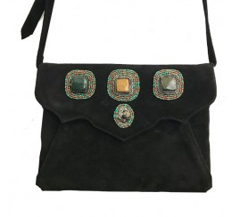 562 BLACK BOHO CROSS BODY 3 STONE BAG